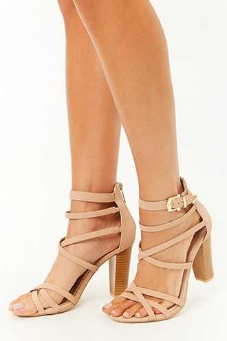 Forever 21 Strappy Block Heels  Nude - GOOFASH
