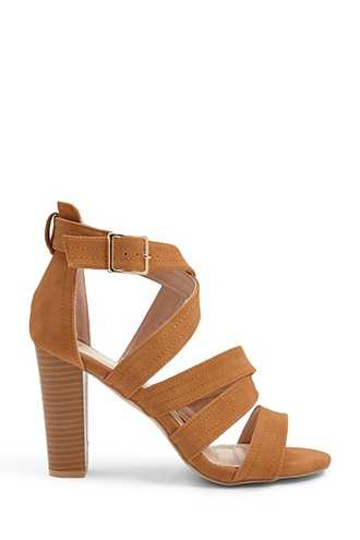 Forever 21 Strappy Faux Leather Heels  Tan - GOOFASH