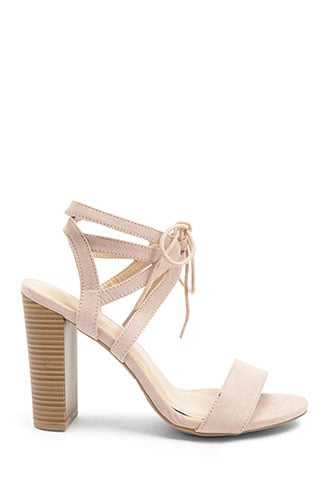 Forever 21 Strappy Faux Suede Heels  Blush - GOOFASH