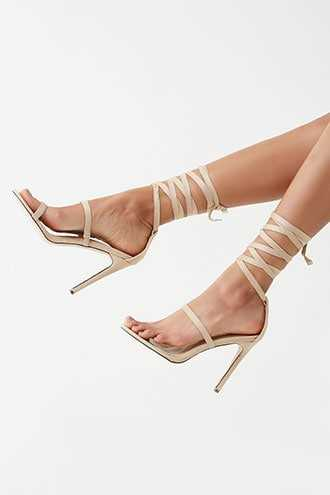 Forever 21 Strappy Faux Suede Heels  Nude - GOOFASH