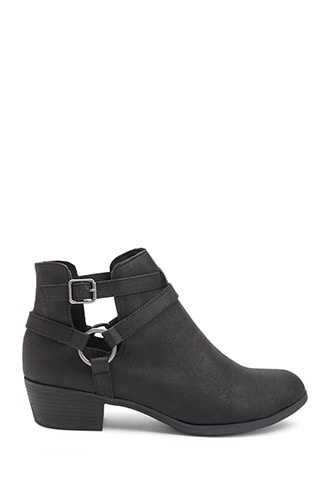 Forever 21 Strappy O-Ring Booties  Black - GOOFASH