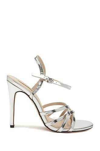 Forever 21 Strappy Slingback Heels  Silver - GOOFASH