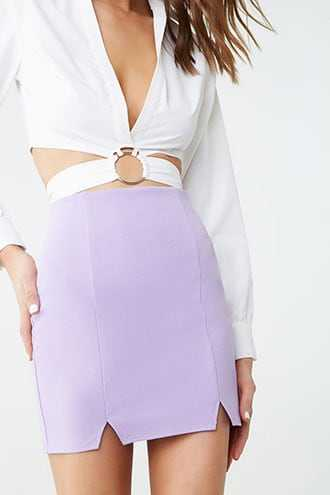 Forever 21 Stretch Mini Skirt Lilac - GOOFASH