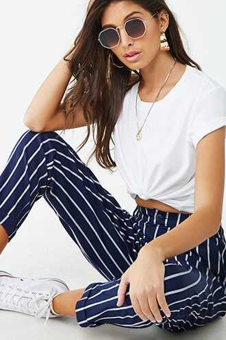 Forever 21 Striped Ankle Pants Navy/cream - GOOFASH