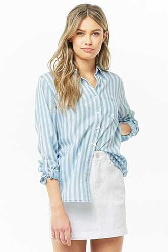 Forever 21 Striped Button-Front Shirt  Blue/cream - GOOFASH