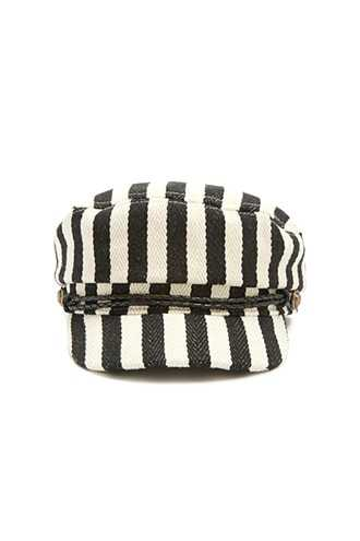 Forever 21 Striped Cabby Hat  Black/cream - GOOFASH