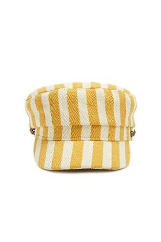 Forever 21 Striped Cabby Hat  Mustard/cream - GOOFASH