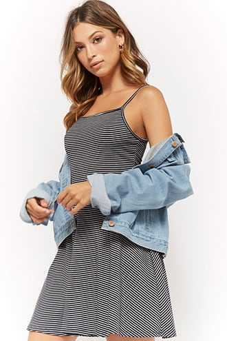 Forever 21 Striped Fit & Flare Dress  Navy/cream - GOOFASH