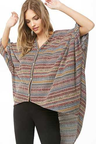 Forever 21 Striped High-Low Poncho  Red/multi - GOOFASH