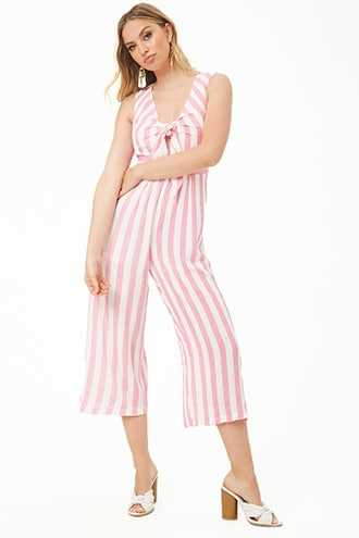 Forever 21 Striped Knot-Front Jumpsuit  Pink/white - GOOFASH