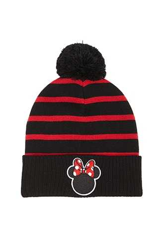 Forever 21 Striped Minnie Mouse Beanie  Black/red - GOOFASH