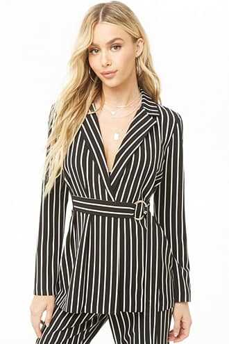 Forever 21 Striped Open Front Blazer  Black/ivory - GOOFASH