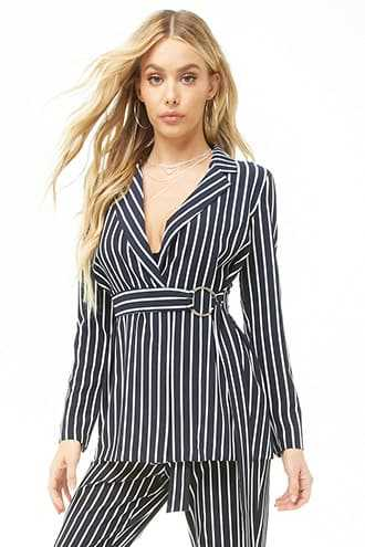 Forever 21 Striped Open Front Blazer  Navy/ivory - GOOFASH