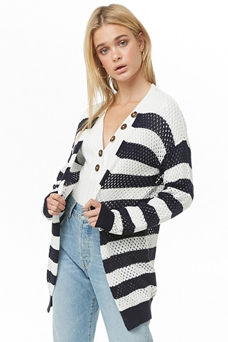 Forever 21 Striped Open-Knit Cardigan  Cream/navy - GOOFASH