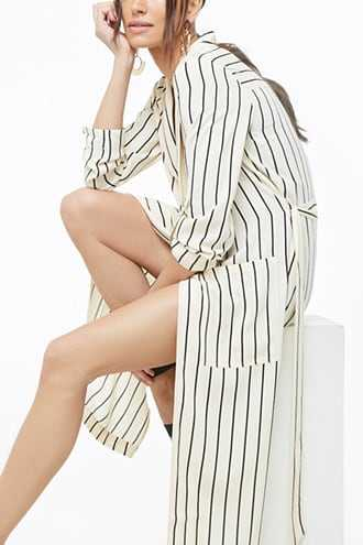 Forever 21 Striped Print Duster Cardigan  Ivory/black - GOOFASH