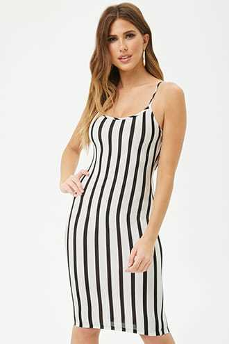 Forever 21 Striped Scoop Bodycon Dress White/black - GOOFASH