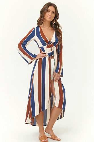 Forever 21 Striped Tie-Front Duster Jacket  Navy/copper - GOOFASH