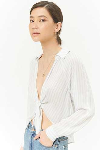 Forever 21 Striped Tie-Front Top  Cream/blue - GOOFASH