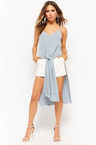 Forever 21 Striped Tie-Front Tunic  Blue - GOOFASH