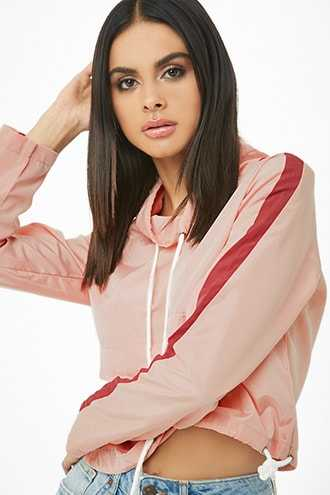 Forever 21 Striped-Trim Cowl Neck Anorak  Pink/red - GOOFASH