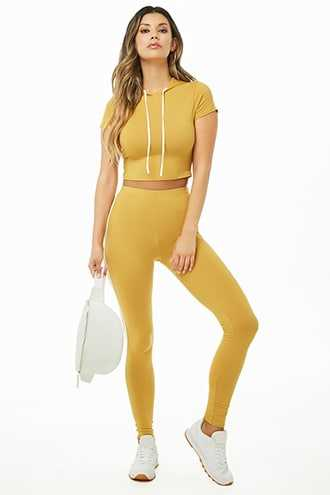 Forever 21 Striped Trim Hooded Crop Top & Leggings Set Mustard - GOOFASH