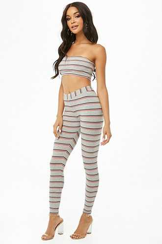 Forever 21 Striped Tube Top & Leggings Set Heather Grey - GOOFASH
