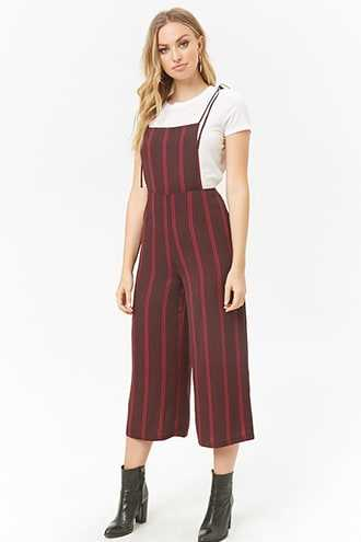 Forever 21 Striped Wide-Leg Overalls  Burgundy/pink - GOOFASH