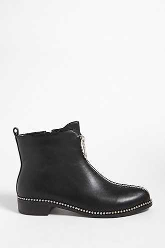 Forever 21 Studded Faux Leather Ankle Boots  Black - GOOFASH