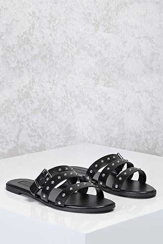 Forever 21 Studded Faux Leather Sandals  Black - GOOFASH