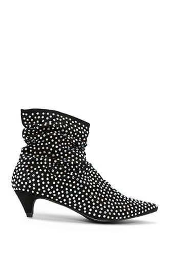 Forever 21 Studded Faux Suede Booties  Black - GOOFASH