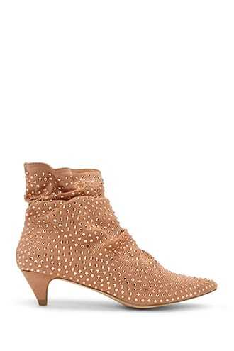 Forever 21 Studded Faux Suede Booties  Rose Gold - GOOFASH