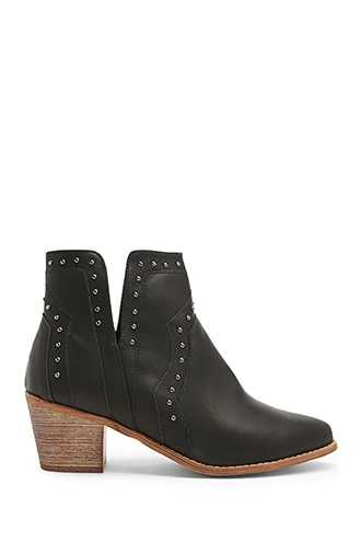 Forever 21 Studded Notched Booties  Black - GOOFASH