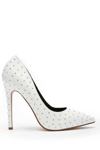 Forever 21 Studded Pointed-Toe Pumps  White - GOOFASH