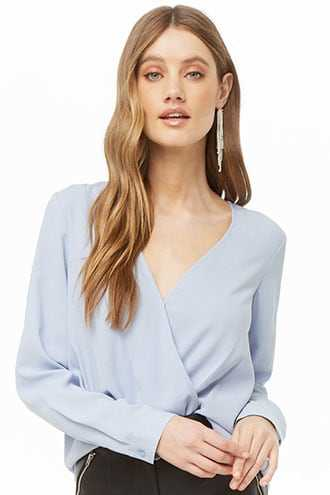 Forever 21 Surplice High-Low Top  Light Blue - GOOFASH