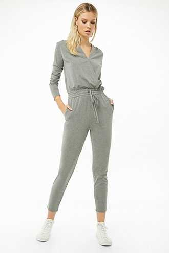 Forever 21 Surplice Tapered Jumpsuit Heather Grey - GOOFASH