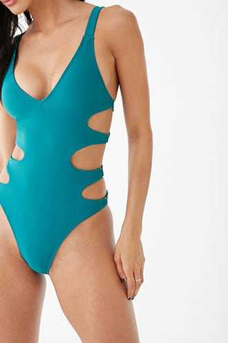 Forever 21 Swan Cutout One-Piece Swimsuit  Teal - GOOFASH