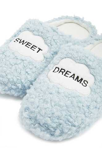 Forever 21 Sweet Dreams Graphic Slippers  Blue - GOOFASH