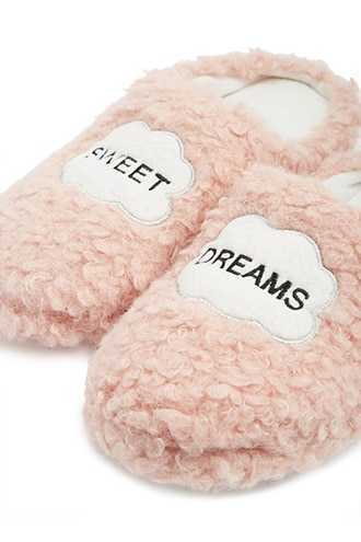 Forever 21 Sweet Dreams Graphic Slippers  Pink - GOOFASH