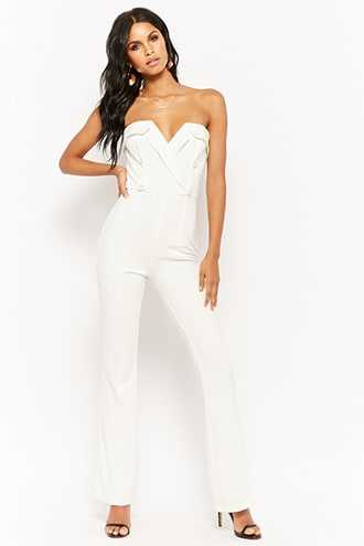 Forever 21 Sweetheart Double-Breasted Jumpsuit  White - GOOFASH