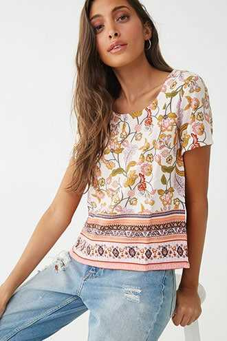 Forever 21 Textured Floral Top  Peach/multi - GOOFASH