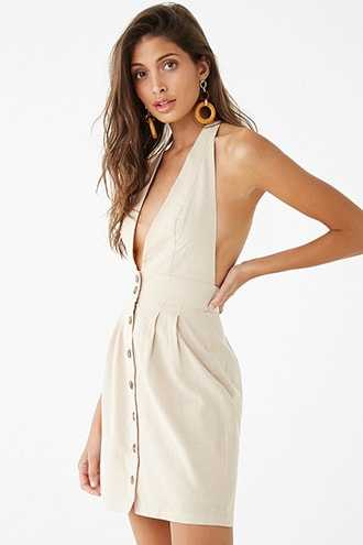 Forever 21 Textured Plunging Halter Mini Dress  Taupe - GOOFASH