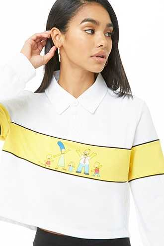 Forever 21 The Simpsons Henley Top  White/yellow - GOOFASH