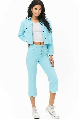 Forever 21 The Style Club Cropped Jeans Blue - GOOFASH