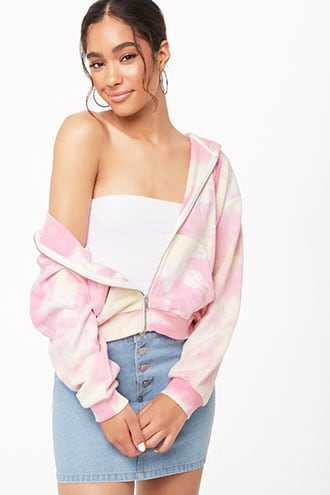Forever 21 Tie-Dye Hooded Jacket Pink/yellow - GOOFASH