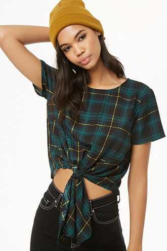 Forever 21 Tie-Front Plaid Top  Navy/green - GOOFASH