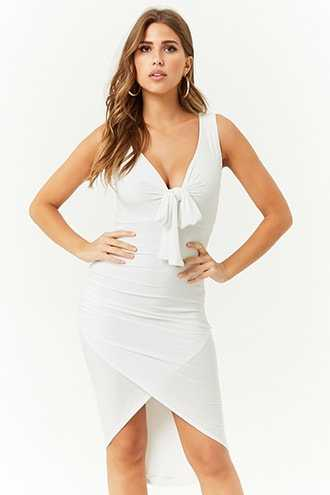 Forever 21 Tie-Front Tulip Dress  White - GOOFASH