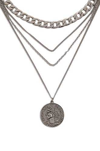 Forever 21 Tiered Ancient Coin Necklace  Antique Silver - GOOFASH