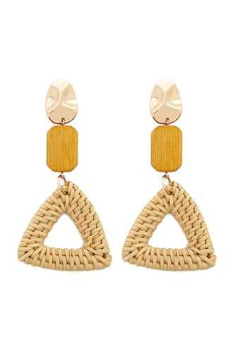 Forever 21 Tiered Rattan & Wooden Drop Earrings  Taupe - GOOFASH