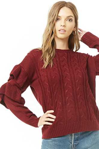 Forever 21 Tiered-Sleeve Cable-Knit Sweater  Burgundy - GOOFASH