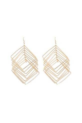 Forever 21 Tiered Square Drop Earrings Gold - GOOFASH